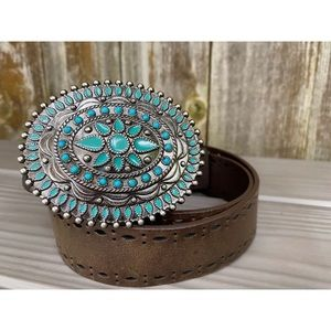 LEVI'S turquoise brown genuine leather boho belt